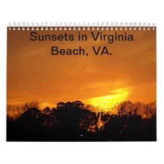 Sunsets in Virginia Beach, VA calendar. Calendar