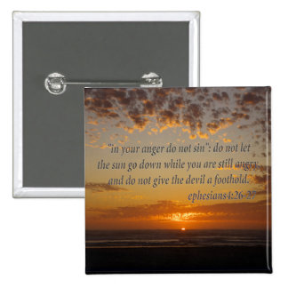 sunset's last moment with ephesians 4:26-27 15 cm square badge