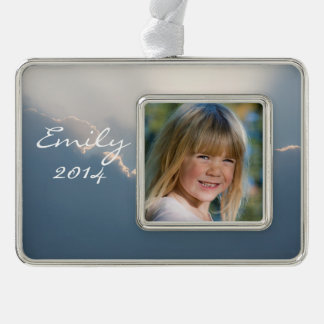 Sunshine behind clouds silver plated framed ornament