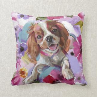 'Sunshine' blenheim cavalier dog art pillow white