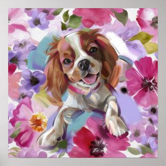 'Sunshine' Blenheim cavalier dog art print