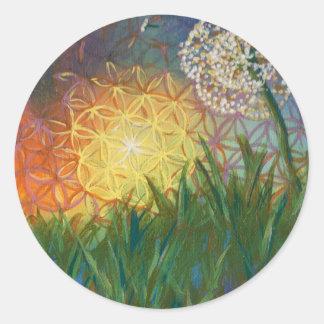 Sunshine Dandelion Sacred Geometry Landscape Classic Round Sticker