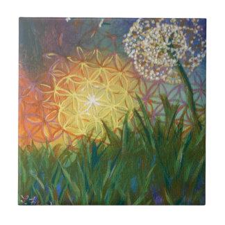 Sunshine Dandelion Sacred Geometry Landscape Small Square Tile