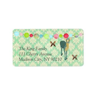 Sunshine Fawn Mint Julep Damask Label Address Label