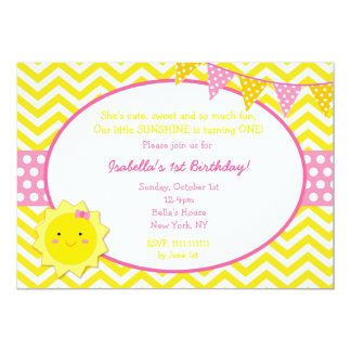 Sunshine First Birthday Party Invitations