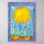 Sunshine Fruit Summer Solstice Watercolor Poster