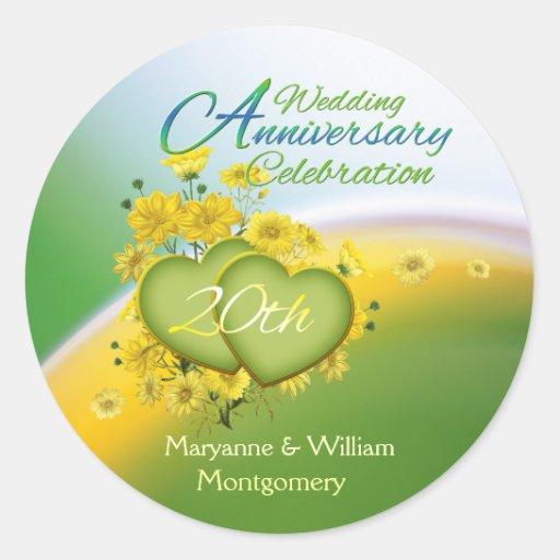 Sunshine Hearts 20th Wedding Anniversary Party Round Sticker