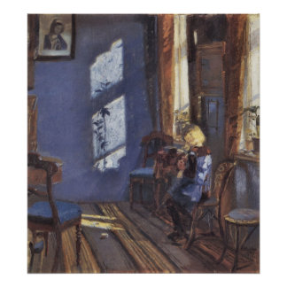 Sunshine in the blue room by Anna Ancher Posters