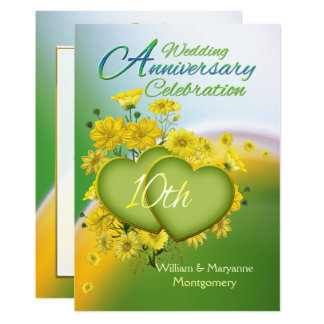 Sunshine Love 10th Wedding Anniversary Party Card
