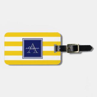 Sunshine Monogrammed Awning Stripe Luggage Tag