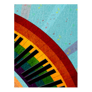 sunshine on water reflections round piano postcard