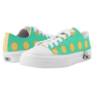 Sunshine Patterned Turquoise & Tan Shoes Printed Shoes