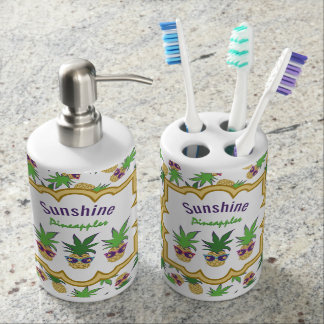 Sunshine Pineapples Pattern Bathroom Set