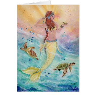 Sunshine Sea Mermaid greeting card by Renee