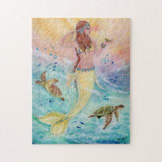 Sunshine sea mermaid with sea turtles puzzle