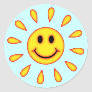 Sunshine Smiley Face Classic Round Sticker
