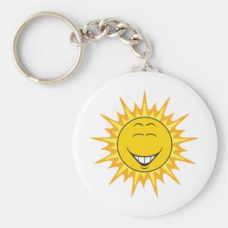 Sunshine Smiley Face Basic Round Button Key Ring
