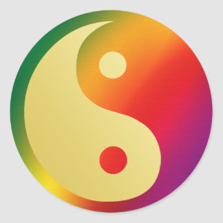 Sunshine Super Man Yin and Yang Round Sticker