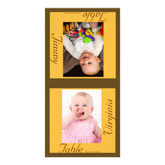 Sunshine & Taupe Bride & Groom Table Card Personalized Photo Card