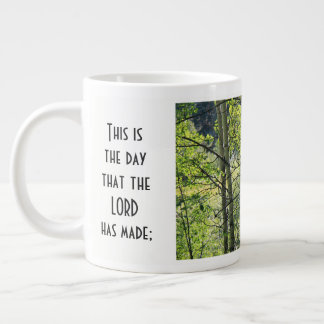 sunshine thru white aspens, w Scripture verse Large Coffee Mug
