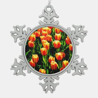 Sunshine Tulips Pewter Snowflake Decoration