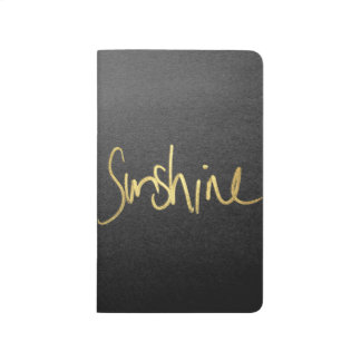 """Sunshine"" Typography in Faux Painted Gold Journal"