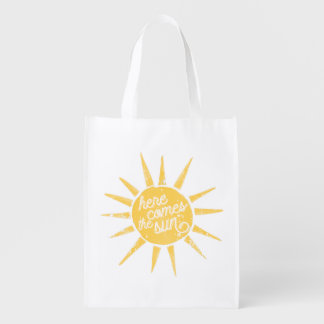 Sunshine Vintage Typography Quote Reusable Grocery Bag