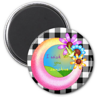 Sunshine Wish Pixel Art 6 Cm Round Magnet