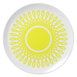 Sunshine Yellow Bursts on White Plate