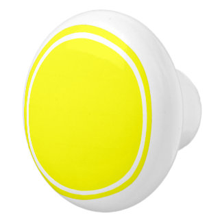 Sunshine Yellow Dot on White Ceramic Knob