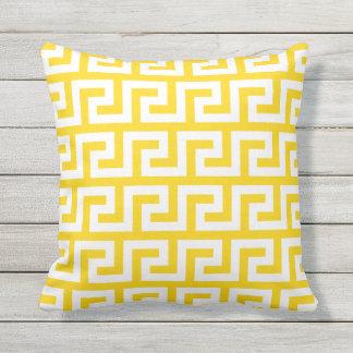 Sunshine Yellow Outdoor Pillows Greek Pattern
