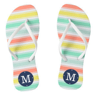 Sunwashed Neon Summer Cabana Stripe Monogram Thongs