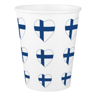 SUOMI FINLAND HEART SHAPE FLAG PAPER CUP