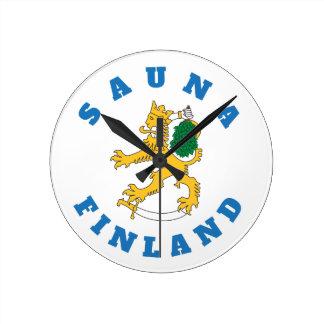 Suomileijona – Sauna-Finland – seinäkello Round Clock