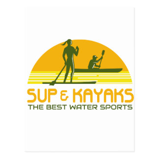 SUP and Kayak Water Sports Retro Postcard