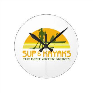 SUP and Kayak Water Sports Retro Round Clock