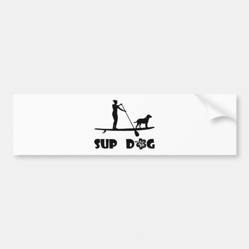 SUP Dog Standing Bumper Stickers