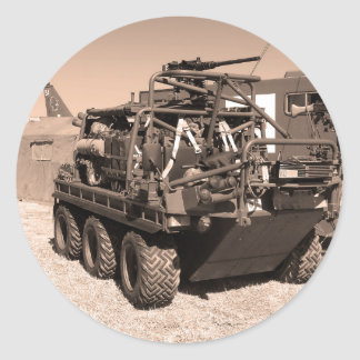 Supacat. The  all terrain six wheeled army vehicle Round Sticker