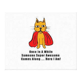Super Awesome Orange Cat with Red Cape Canvas Prints