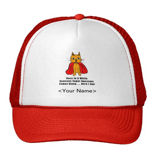 Super Awesome Orange Cat with Red Cape Mesh Hat