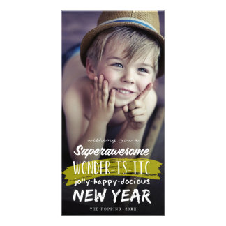 Super Awesome Wonderistic New Year Holiday Card Photo Card Template
