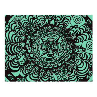 Super Black and Green Aztec Mandala Postcard
