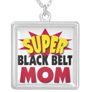 Super Black Belt Mom Silver Plated Necklace