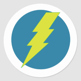 Super Blue Thunder Round Stickers