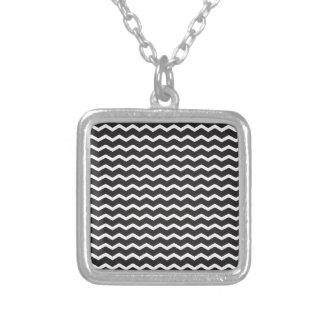 Super Bold Chevron Pattern Square Pendant Necklace