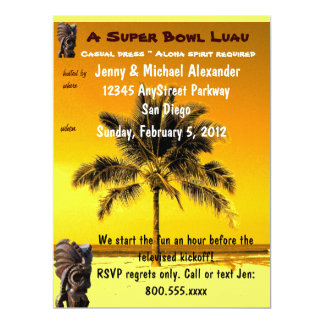 "Super Bowl Party Luau 6.5"" X 8.75"" Invitation Card"