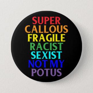Super Callous Racist Not My POTUS, Political Humor 7.5 Cm Round Badge