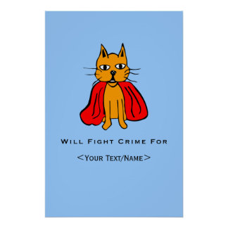 Super Cat Fight Crime For Your Text Name Posters
