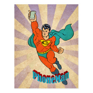 Super Cell Phone Man Postcard