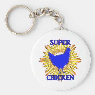Super Chicken Basic Round Button Key Ring